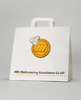 Бумажный крафт-пакет с рекламной печатью